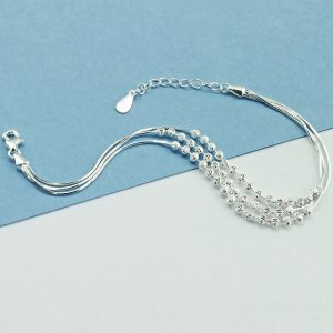 """Elegant Sterling Silver Ball Bracelet 6.5"""" + 1"""""""