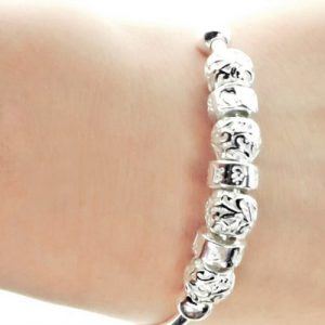 Vintage Bead Style 990 Pure Silver Bangle