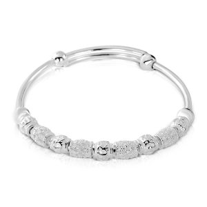 6mm Vintage Bead 990 Silver Adjustable Bangle