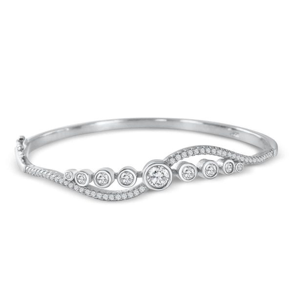 Elegant Cubic Zirconia Sterling Silver Bangle