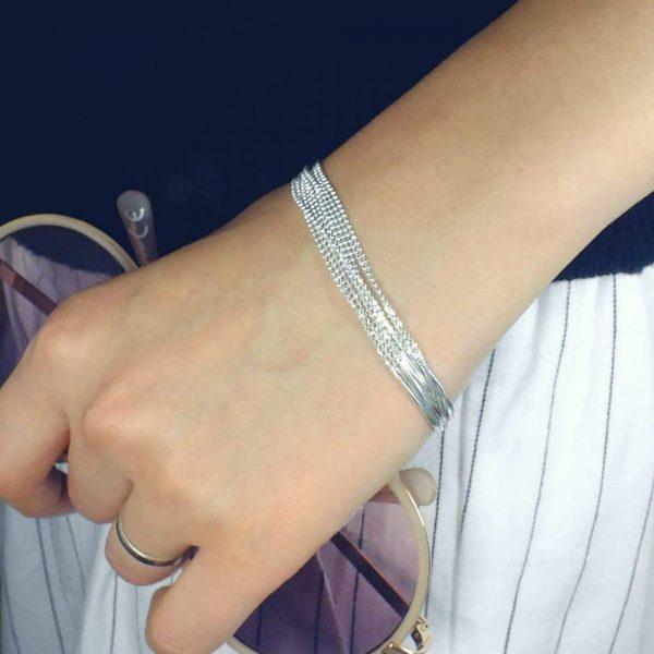 """Sterling Silver Bead Chain Bracelet 6.5"""" + 1.5"""""""