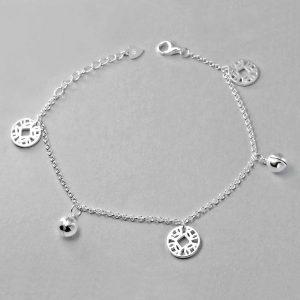 """Sterling Silver Vintage Bell Bracelet 6.5"""" + 1"""""""