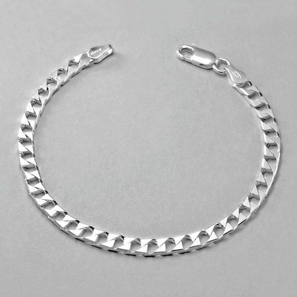 Sterling Silver Italian Diamond Cut Bevelled Flat Bracelet