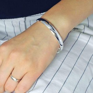 Silver High Polished Adjustable Bangle