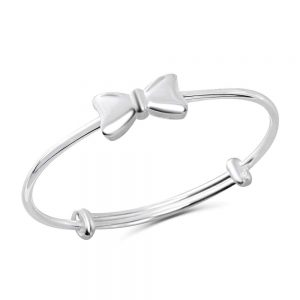 Pure Silver Bow Bangle Bracelet
