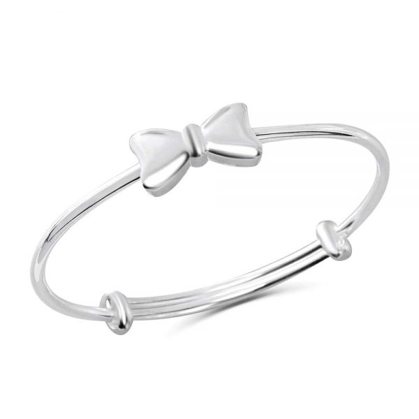 Pure Silver Bow Bangle Bracelet