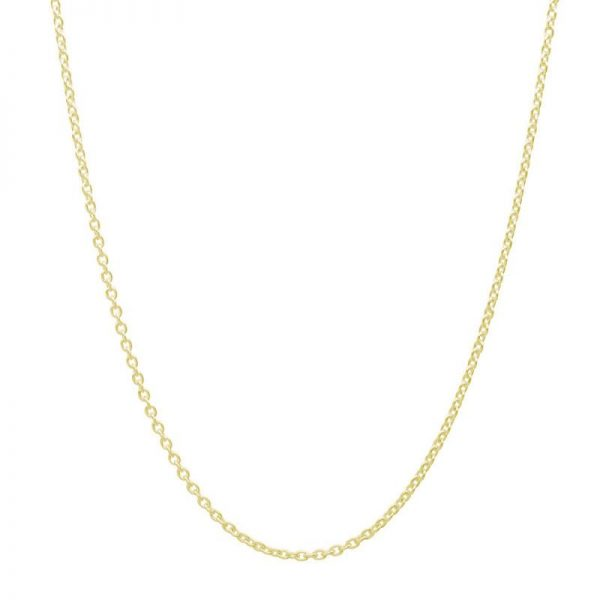 18k Gold Over 925 Silver Cable Chain 16 Inch + 2 Inch Extender