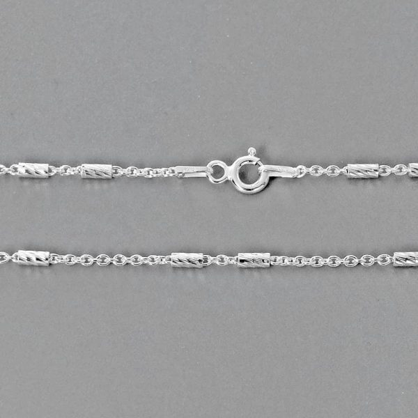 Italy 925 Silver Shiny Bar Chain