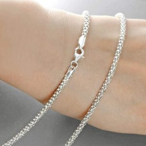 3 mm Sterling Silver Italian Popcorn Chain