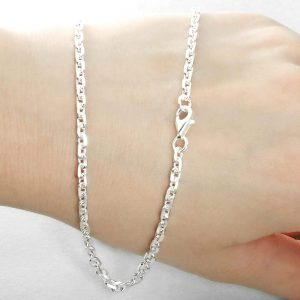 3mm Men's Sterling Silver Diamond Cut Cable Chain