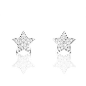 Cute Star Cubic Zirconia 925 Sterling Silver Stud Earrings