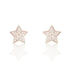 Cute Star CZ Rose Gold Plated 925 Sterling Silver Stud Earrings