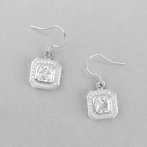 Gorgeous 925 Sterling Silver Micro Pave and Octagonal cut CZ Earrings