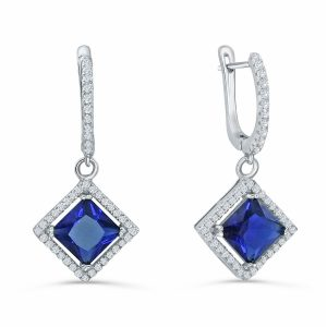 925 Sterling Silver Blue Crystal Cubic Zirconia Drop Earrings