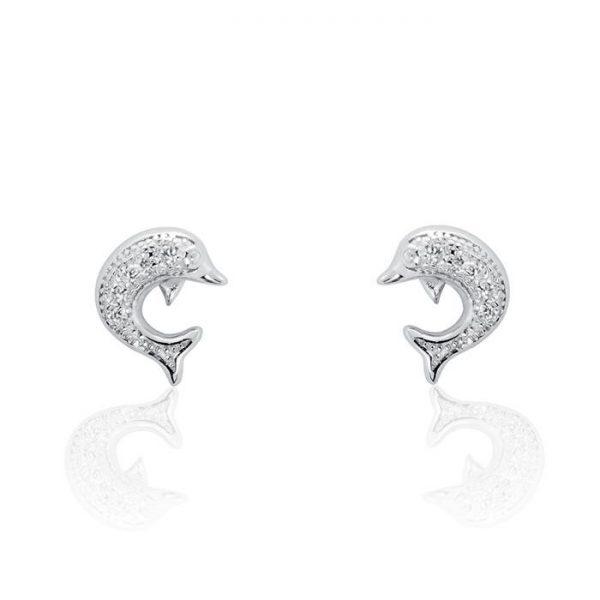 925 Sterling Silver Cubic Zirconia Cute Dolphin Earrings