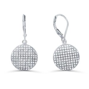 Sterling Silver Micro Pave Setting Cubic Zirconia Dot Earrings