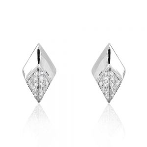 Generous Rhombus 925 Sterling Silver Cubic Zirconia Stud Earrings