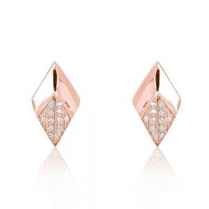 Generous Rhombus CZ Rose Gold Plated 925 Silver Stud Earrings