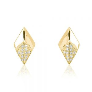 Generous Rhombus CZ 9K Gold Plated 925 Silver Stud Earrings