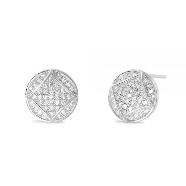 925 Sterling Silver Cubic Zirconia Fabulous Circle Earrings