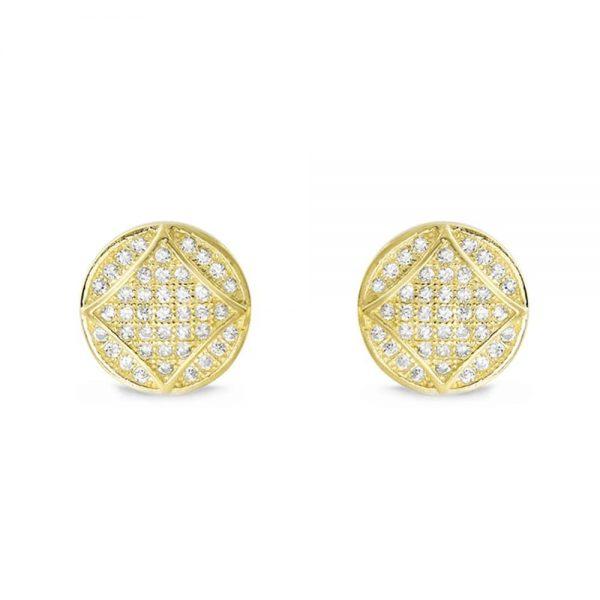 9K Gold Plated Silver Cubic Zirconia Fabulous Circle Earrings