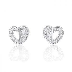 Gorgeous Heart 925 Sterling Silver Cubic Zirconia Earrings