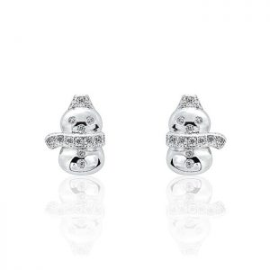 Lovely Snowman 925 Sterling Silver CZ Earrings