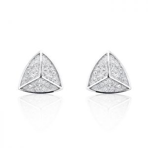 925 Sterling Silver Cubic Zirconia Triangle Earrings