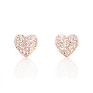 Sparkling Heart Cubic Zirconia 925 Sterling Silver Earrings Rose