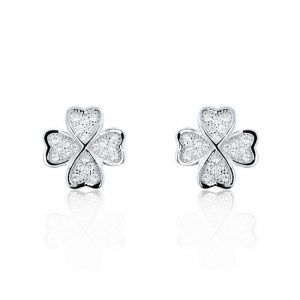 925 Sterling Silver Four Leaf Clover Cubic Zirconia Earrings