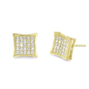 Fabulous 9K Gold Plated Sterling Silver CZ Micro Pave Earrings