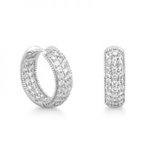 Sterling Silver 0.9 Carat Cubic Zirconia Hoop Earrings