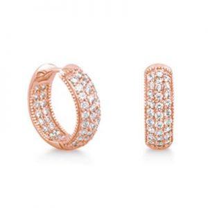 Rose Gold over Silver 0.9 Carat Cubic Zirconia Hoop Earrings