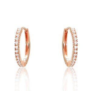 Rose Gold Plated 925 Sterling Silver CZ Hoop Earrings