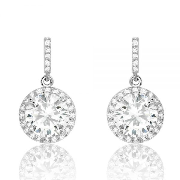 Gorgeous 925 Sterling Silver Cubic Zirconia Drop Earrings