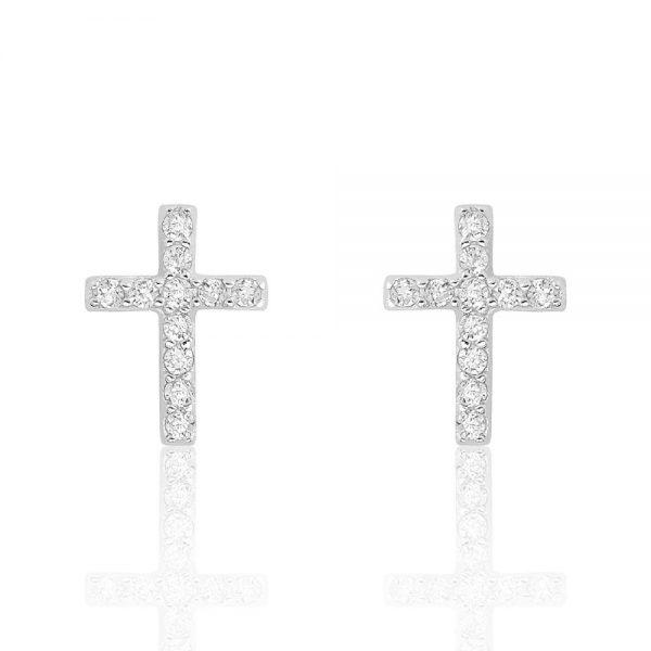 Sterling Silver Beautiful Cross Cubic Zirconia Earrings