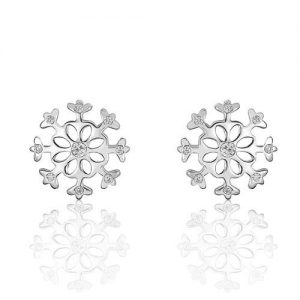 Gorgeous Sterling Silver Cubic Zirconia Snowflakes Earrings