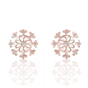 Gorgeous Rose Gold Plated 925 Silver CZ Snowflakes Earrings