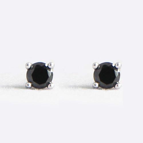 Sterling Silver 3mm CZ Black Stud Earrings