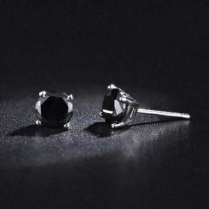 Sterling Silver 4mm CZ Black Stone Stud Earrings