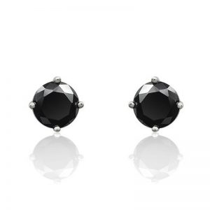 5mm Cubic Zirconia Sterling Silver Black Stud Earrings