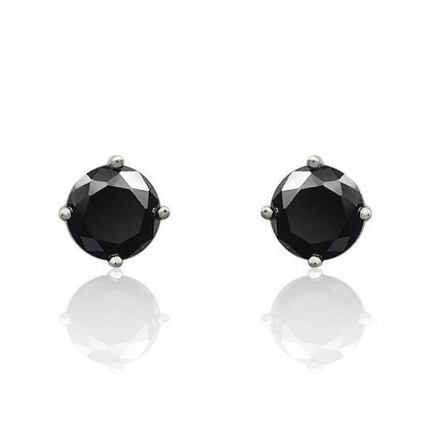 5mm Cubic Zirconia Sterling Silver Black Stud Earrings