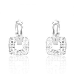 Unique Sterling Silver Fashion CZ Hoop Earrings