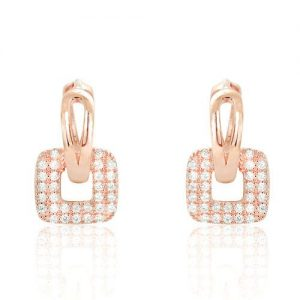 Unique Rose Gold Plated Silver Fashion CZ Hoop Earrings
