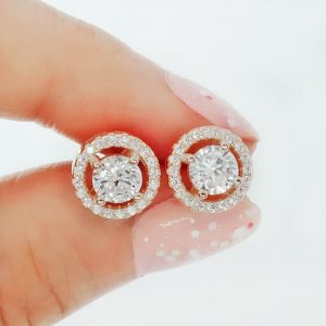 Stunning Rose Gold Plated Sterling Silver CZ Stud Earrings