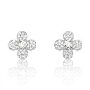 Sterling Silver Cubic Zirconia Four Leaf Clover Flower Earrings