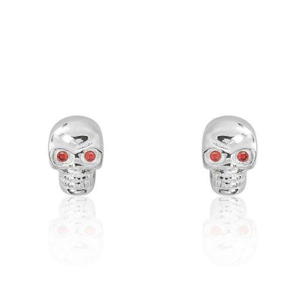 Red Crystal Sterling Silver Skull Earrings