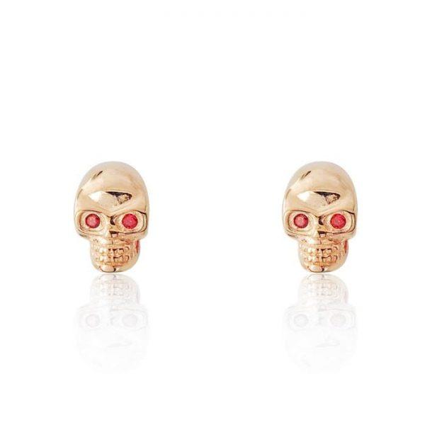 Red Crystal Rose Gold over Silver Skull Earrings