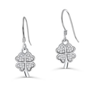 Sterling Silver Four Leaf Clover Earrings Hooks