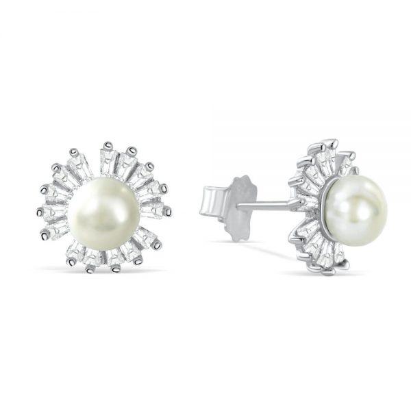 Sterling Silver Baguette Cut CZ Pearl Stud Earrings